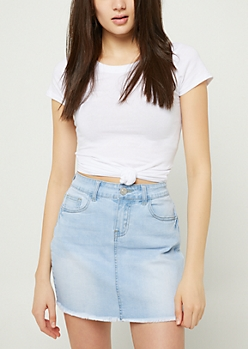 White Basic Fitted Crew Neck Tee