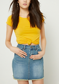 Yellow Basic Fitted Crew Neck Tee