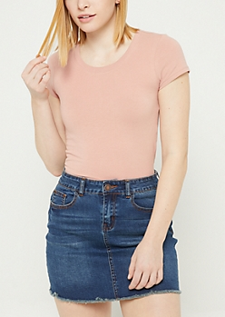 Pink Basic Fitted Crew Neck Tee