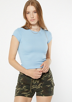Periwinkle Cap Sleeve Fitted Tee
