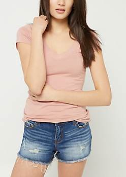 Pink Basic Fitted V Neck Tee