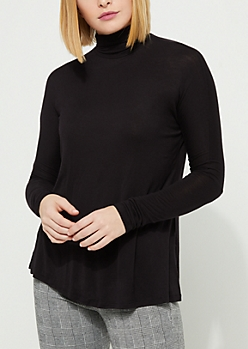 Black Soft Knit Turtleneck Top