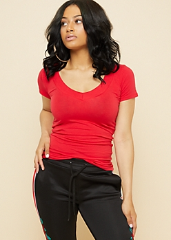 Red Wide V Neck Fitted Tee