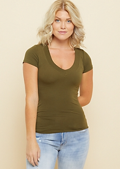 Olive Wide V Neck Fitted Tee