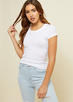 White Crew Neck Fitted Tee