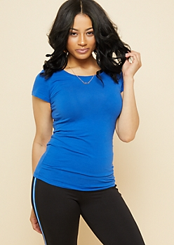 Royal Blue Crew Neck Fitted Tee