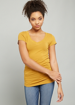 Mustard V Neck Cap Sleeve Fitted Tee