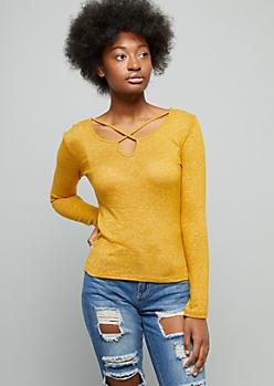 Mustard Yellow Crisscross Hacci Top