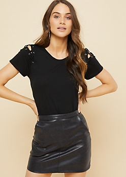 Black Lace Up Shoulder Tee