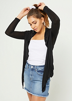 Black Lightweight Long Sleeve Cardigan