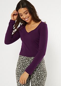 Purple Essential V Neck Long Sleeve Top