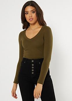 Olive Essential V Neck Long Sleeve Top