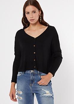 Black Drop Sleeve Waffle Knit Crop Top