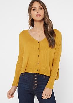 Mustard Drop Sleeve Waffle Knit Crop Top