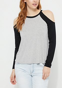 Black Cold Shoulder Jersey Top