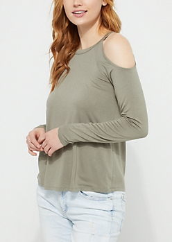Olive Cold Shoulder Jersey Top