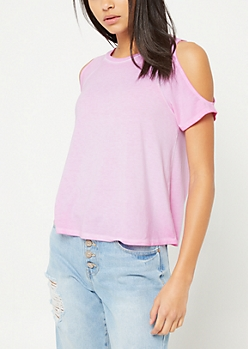 Pink Cold Shoulder Raglan Tee