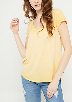 Dark Yellow Washed V Neck Tee