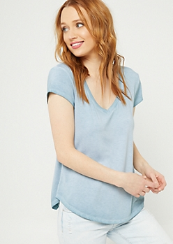 Teal Washed V-Neck Tee