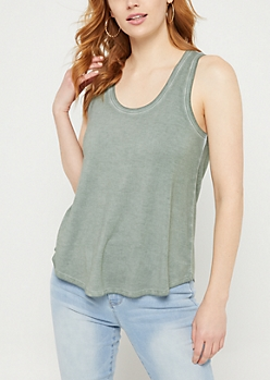 Green Flowy Solid Tank