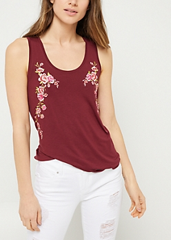 Burgundy Floral Embroidered Sides Tank Top