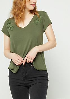 Dark Olive Embroidered V-Neck Tee