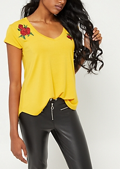 Dark Yellow Rose Embroidered V Neck Tee