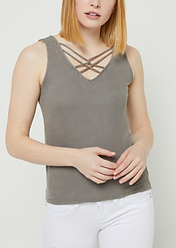 Charcoal Washed Strappy Ribbed Tank Top