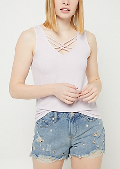 Lavender Washed Strappy Ribbed Tank Top