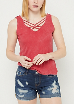 Burgundy Washed Strappy Ribbed Tank Top