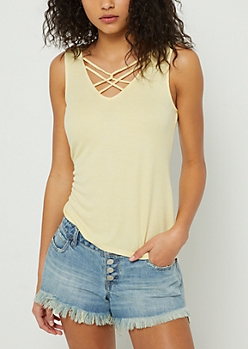 Light Yellow Washed Strappy Ribbed Tank Top