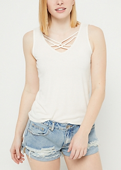 Ivory Ribbed Knit Caged Tank Top
