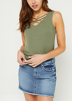 Olive Rib Knit Caged Tank Top