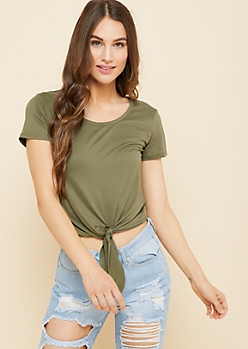 Olive Tie Front Super Soft Fitted Tee