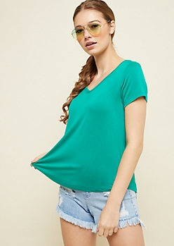 Green Favorite Relaxed Fit V Neck Tee