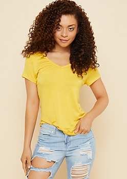 Yellow Favorite Relaxed Fit V Neck Tee