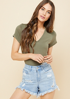 Olive Favorite Relaxed Fit V Neck Tee