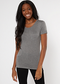 Heather Gray Crewneck Pocket Tee