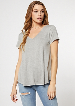 Heather Gray Favorite V Neck Relaxed Tee