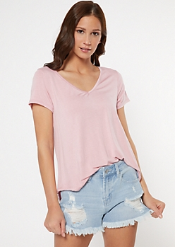 Pink Favorite V Neck Relaxed Tee