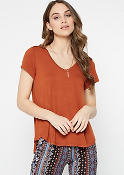 Burnt Orange Favorite V Neck Relaxed Tee