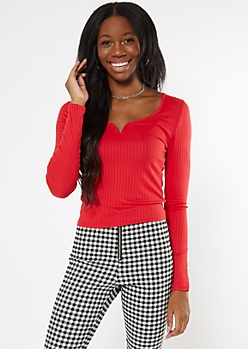 Red Ribbed Knit V Notch Top
