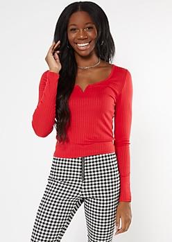 Red Ribbed Knit V Notch Top