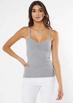 Gray Cinched Chest Tank Top