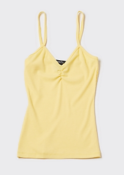 Yellow Cinched Chest Tank Top