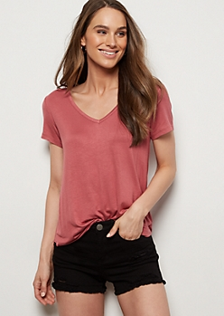 Medium Pink V Neck Relaxed Favorite Tee