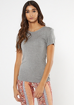 Gray Chest Pocket Essential Tee