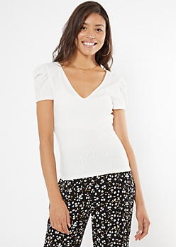 Ivory Deep V Puff Sleeve Top