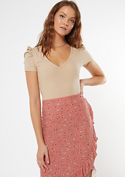Tan Deep V Puff Sleeve Top