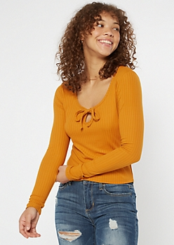 Gold Super Soft Keyhole Cutout Top